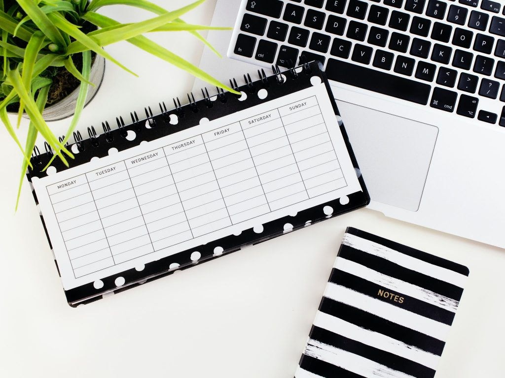 Planner for organized blogger to plan out a time to blog